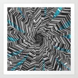 Crazy Blue Zebra Art Print