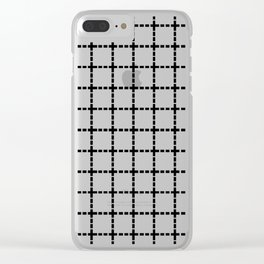 Dotted Grid Black on White Clear iPhone Case