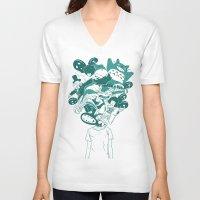 studio ghibli V-neck T-shirts featuring Studio ghibli mash up by Herdhi