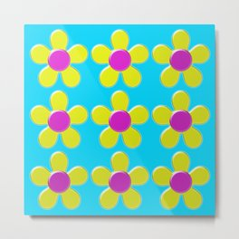 Spring Daisies Jelly Art - Yellow Pink Turquoise Metal Print