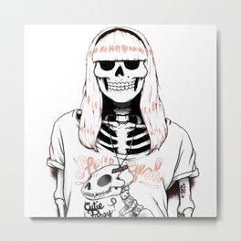 hipster skeleton girl Metal Print