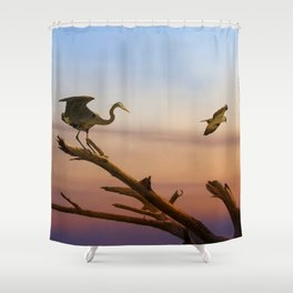 Heron And Osprey At Sunset Shower Curtain