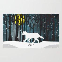 White Wolf at Midnight Rug