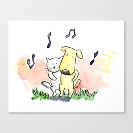 White Cat and Little Bread are friends! Canvas Print