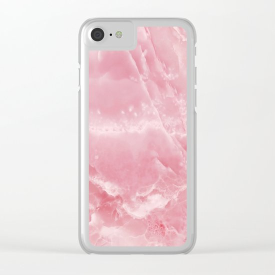 Pink onyx marble Clear iPhone Case