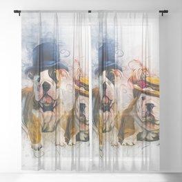 Bulldog Mr and Mrs Sheer Curtain