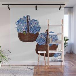 Two Baskets of Hydrangea Love Wall Mural