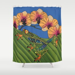 Tree Frog with Orchids Shower Curtain