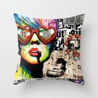 punk rock Throw Pillows featuring Punk Rock poster by Mira C