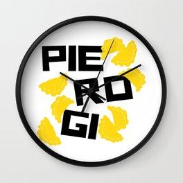 Funny pierogi Wall Clock