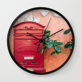 """Travel photography print """"Red mailbox in Tuscany """" photo art made in Italy. Colorful photo pastel Wall Clock"""