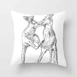 Boxing Roos Throw Pillow