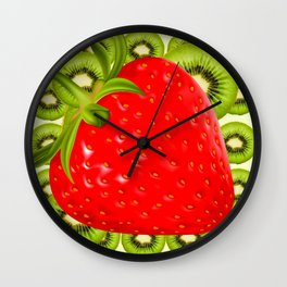 GREEN KIWI & RED STRAWBERRY ART Wall Clock