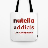 nutella Tote Bags featuring Nutella Addicts Unanonymous by Jozi