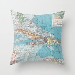 Vintage Map of The Caribbean Sea (1913) Throw Pillow