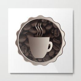 Roasted Coffee Cup Sign Metal Print