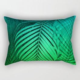 TROPICAL GREEN BLUE LEAVES Rectangular Pillow