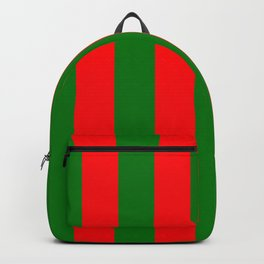 Wide Red and Green Christmas Cabana Stripes Backpack