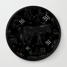 Seamless Pattern with Cute Hand Drawn Zebra Wall Clock