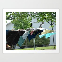 Clothes on the Line in Amish Country Art Print