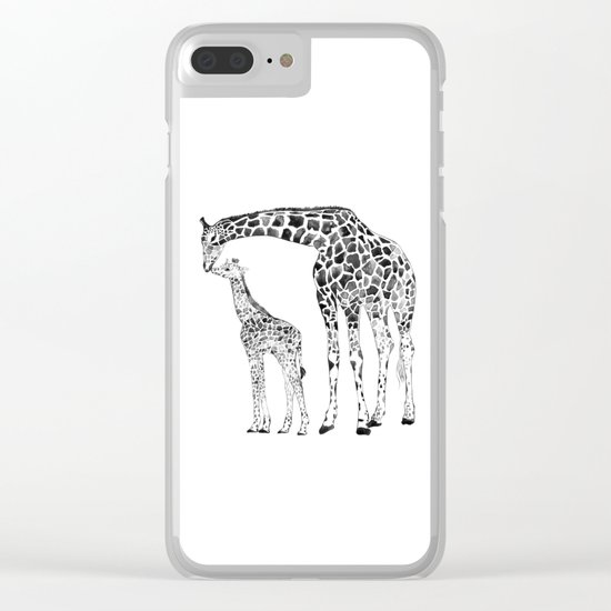 Giraffes, black and white Clear iPhone Case