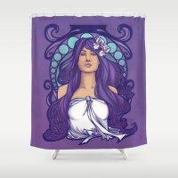 nouveau Shower Curtains featuring Iris Nouveau by Karen Hallion Illustrations