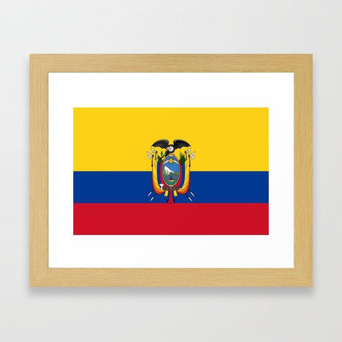 Flag of Ecuador -ecuadorian,Inca,Kichwa,Quito,america, South america,Spanish,Amazonia,latin america Framed Art Print