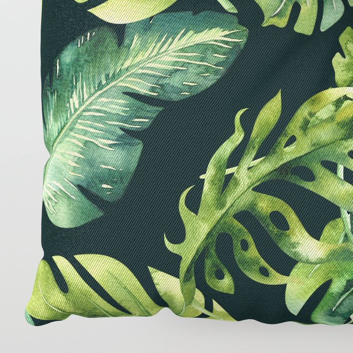 Watercolor Botanical Tropical Palm Leaves on Solid Black Background Floor Pillow