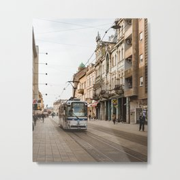 Tram on the streets of Osijek, Croatia / Street / City Metal Print