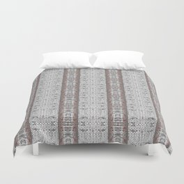Vintage Grey White Mosaic Striped Pattern Duvet Cover