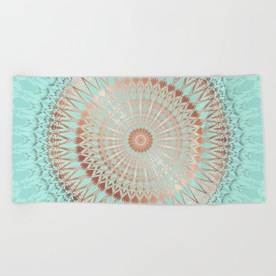 Rose Gold Mint Mandala Beach Towel