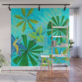 My blue abstract Aloha Tropical Jungle Garden Wall Mural