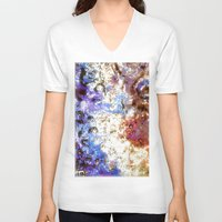 oil V-neck T-shirts featuring Oil Puddle by Lyssia Merrifield