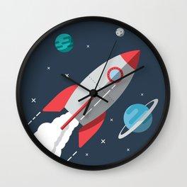 Little Astronaut Rocket Adventure Wall Clock