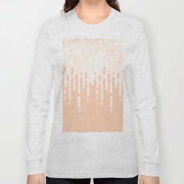 Marble and Geometric Diamond Drips, in Peach Long Sleeve T-shirt