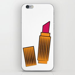 Gold and coral lipstick iPhone Skin