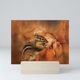 Chipmunk Autumn Mini Art Print