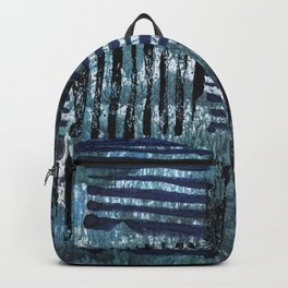 Black blue striped squares abstract painting Backpack