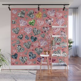 Heart Diamonds are Forever Love Pink Wall Mural