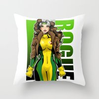rogue Throw Pillows featuring Rogue by Genevieve Kay