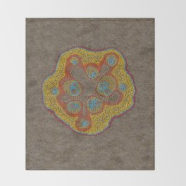 Growing - Cucumis - embroidery based on plant cell under the microscope Throw Blanket
