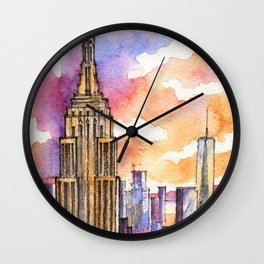 Empire State Building ink & watercolor illustration Wall Clock