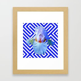 MODERN BLUE & WHITE ART DECO PATTERN IRIS Framed Art Print