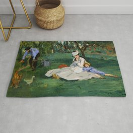 """Édouard Manet """"The Monet Family in Their Garden at Argenteuil"""" Rug"""