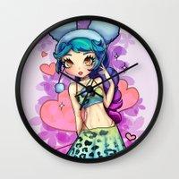 bon iver Wall Clocks featuring Cherry Bon Bon by Mickey Spectrum