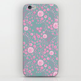 Abstract pink garden pattern in cian background iPhone Skin