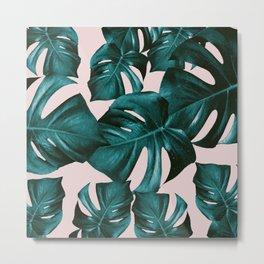 Monstera Leaves Pattern #4 #tropical #decor #art #society6 Metal Print