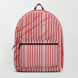 Red stripes on grunge pink background Backpack