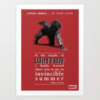 bucky barnes Art Prints featuring BUCKY BARNES - LITERARY QUOTES by Samantha Panther