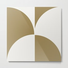 Diamond Series Round Checkers White on Gold Metal Print
